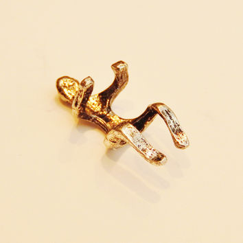 Silver Plated Naked Climbing Man Ear Cuff