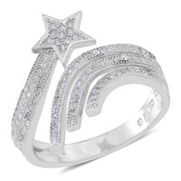 Simulated Diamond Star Bypass Sterling Silver Ring