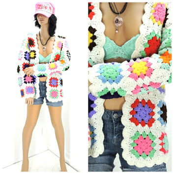 Vintage 70s granny square sweater size S / M, 1970s cardigan, boho hippie handmade crocheted sweater, trendy retro jacket, SunnyBohoVintage