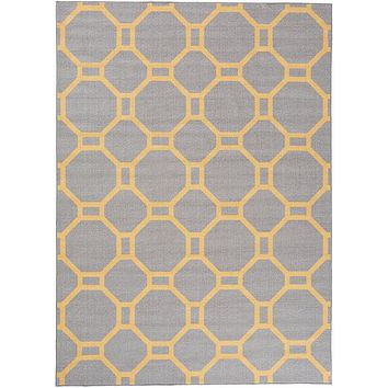 2510 Gray-Yellow Trellis Area Rugs