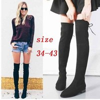On Sale Hot Deal Flat Zippers Stretch Boots [120849432601]