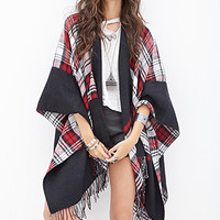 FOREVER 21 Plaid Knit Poncho Black/Red One