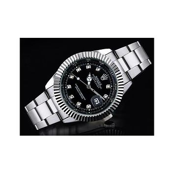 Rolex three-fold belt gear shell with a small drill F-SBHY-WSL Silver wristband + black dial