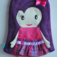 FREE SHIPPING! Sweet dolly-purse for little lady, unique, charming button-heart, bow.