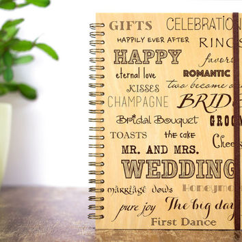 Wedding Journal, Wood Wedding Guestbook, Gift for Bride, Bridal Shower Gift, Bride Journal, Custom Guestbook, Wedding Words, Wedding Favors