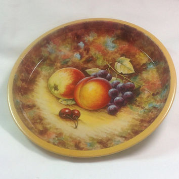 DAHER Decorated Ware Made In England  #11101 Lovely Vintage Fruit Metal dish.