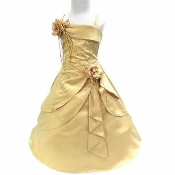 Nicoevaropa Gorgeous Flower Girl Dresses Kids Embroidery Satin Beaded Long Party Evening Ball Gown Children Formal Vestido