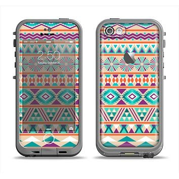 The Tan & Teal Aztec Pattern V4 Apple iPhone 5c LifeProof Fre Case Skin Set