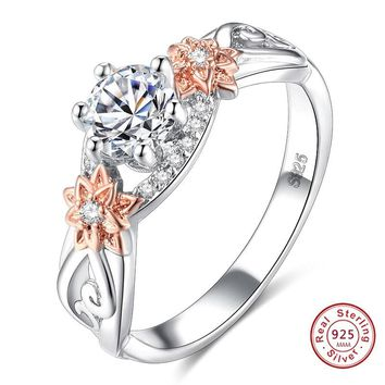 Delicate AAA CZ Crystal Flower Love Heart Design Wedding Rings  925 Sterling Sliver Finger Bague Jewelry