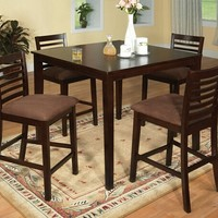 5 Pc. Eaton II Contemporary Style Espresso Wood Finish Counter Height Dining Table Set