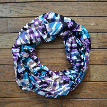 Abstract Infinity Scarf, Purple Teal Scarf, Women's Scarf, Multicolored Jersey Scarf, Circle Scarf, Black White Scarf, Teal Snood, Tan Cowl
