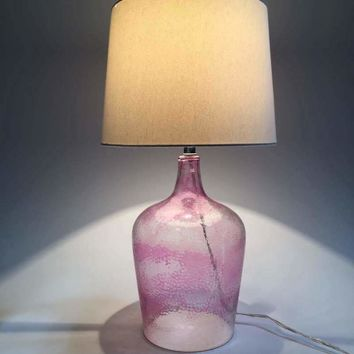 Pink Table Lamp Clear Glass And Fabric Lampshade Modern