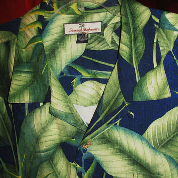 Amazing Vintage Hawaiian Shirt TOMMY BAHAMA  Blue Green  Leaves 100% Silk Size XL  Very Collectible