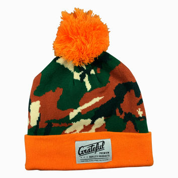 Flow Camo Beanie, Camo/Orange