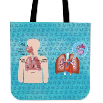Respiratory System Linen Tote Bag