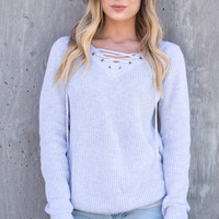 Grey Lace-Up Knit Sweater