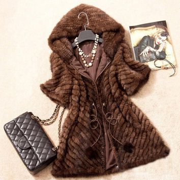 Women Genuine Mink Fur Coat New Fashion New Quality Vest Lady Warm Winter Mink Fur Jacket With Hood Natural Mink Fur Outwear