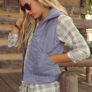 Winter Valley Resort Quilted Faux Denim Vest With Pockets