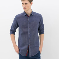 LINEN SHIRT WITH CONTRASTING INTERIOR BAND