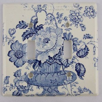 RARE Blue Transferware Double Light Switch Plate Charlotte Basket of Roses and Flowers