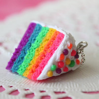 Miniature Food Jewelry - Rainbow Cake Necklace (10) Party Favors - As seen in Make Jewellery and Making Jewellery Magazines
