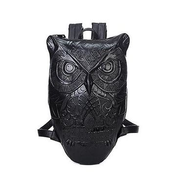 Cool Backpack school 2018 Women Man hop trend Backpack Cool Black PU Leather 3D Graphic Embossed Owl Backpack Female Hot Sale Women Bag AT_52_3