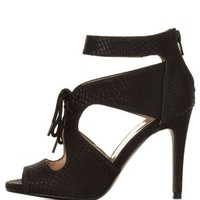 Black Snake-Textured Cut-Out Lace-Up Heels by Charlotte Russe