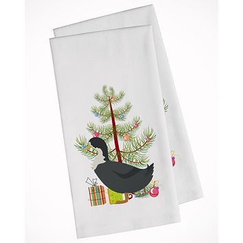 Blue Swedish Duck Christmas White Kitchen Towel Set of 2 BB9229WTKT