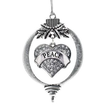 Peace Pave Heart Charm Holiday Ornament