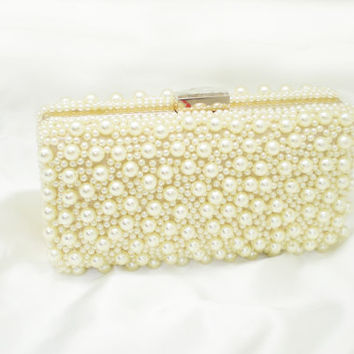 Champagne pearl clutch, Beaded purse,Party bag,Wedding purse, Prom bag,Pearl evening bag-handmade-gift for her