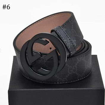 GUCCI Tide brand men and women classic double G buckle canvas belt #6