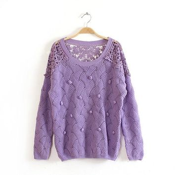 Lace Crochet Hollow Out Pullover Sweater