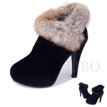Fashion Women Faux Suede Fur Ankle Boots High Heels Platform pump Stiletto shoes = 193