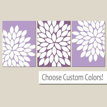 Lavender Wall Art, CANVAS or Prints Baby Girl Nursery Decor, Lilac Lavender Nursery Decor, Lilac Bedroom Pictures, Flower Burst Set of 3