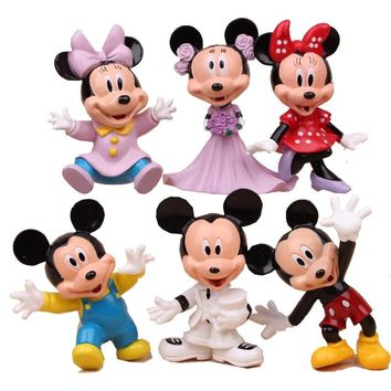 6Pcs/Lot Disney Mickey Mouse Anime PVC Action Figures Minnie Mouse Anime Figure Figurines Collectible Dolls Kids Toys For Girls