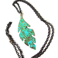 Stunning hand stamped weathered copper metal leaf pendant necklace - blue green aged patina brass leaf pendant - by Sparkle City Jewelry