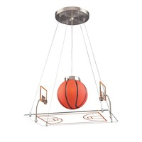 Novelty 1 Light Basketball Court Pendant Satin Nickel