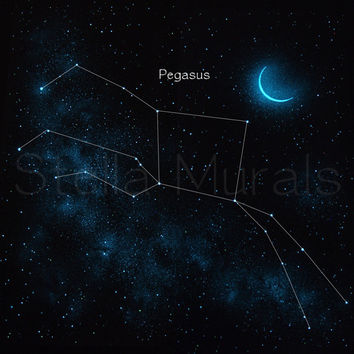 """Glow in the Dark Star Ceiling Mural - Pegasus the Flying Horse - Removable – Reusable - 47 """" x 47 """""""