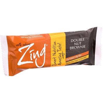 Zing Bars Nutrition Bar - Double Nut Brownie - 1.76 oz Bars - Case of 12