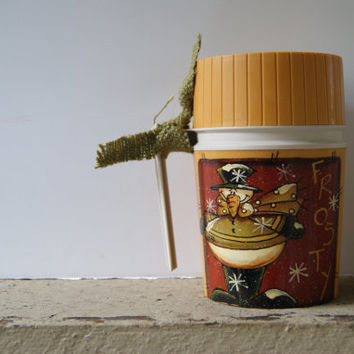 Christmas Snowman Decor~ Hand Painted Snowman Thermos~ Frosty!