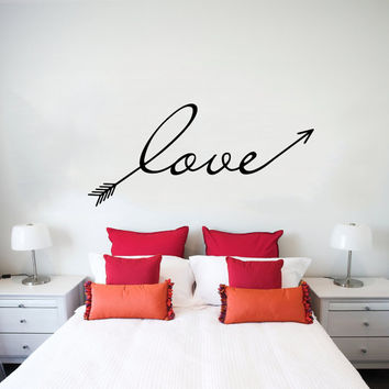 Wall Decal Arrow Love Vinyl Sticker Decals Art Home Decor Mural Feather Indie Boho Wall Decal Arrows Fashion Bohemian Bedroom Dorm AN705