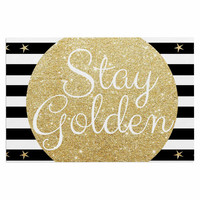 "Richard Casillas ""Stay Golden "" Black Gold Decorative Door Mat"