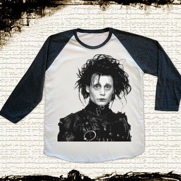 Size L -- JOHNNY DEPP Edward Scissorhands Shirts Movie Shirts Baseball Shirts Jersey Raglan Shirts Long Sleeve Unisex Shirts Women Shirts