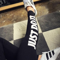 Cotton printed letters yoga pants Black