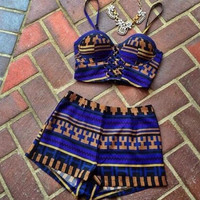Blue High Waist Plaid Print Swimsuit Bikini 11973