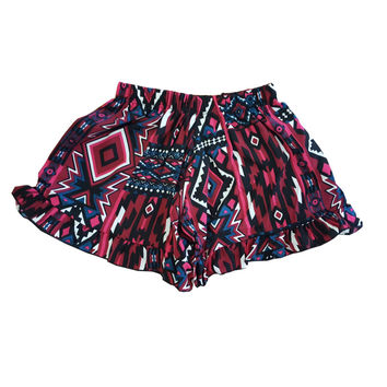 Lori & Jane Girl's Ruffled Shorts Pink and Black Aztec