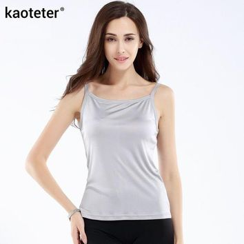 DCCKFC9 100% Pure Silk Women's Camis Simple Women Camisole Female Slim Halter Tops Woman Knitted Silk Ladies Wild Solid