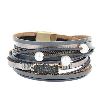 COOLLA Women Genuine Leather Vintage Volcanic Stone Wrap Bangle Bracelet Pearl Pendant Magnet Buckle (Grey)