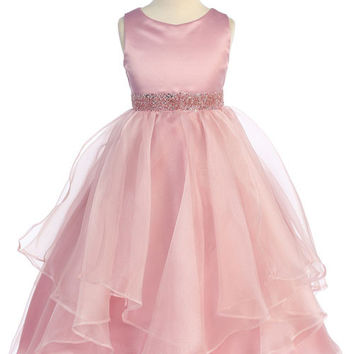 Amazing Dusty Rose Organza Layered Flower Girl Dress