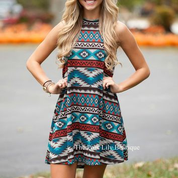 Illusion Of Aztec Dress Aqua